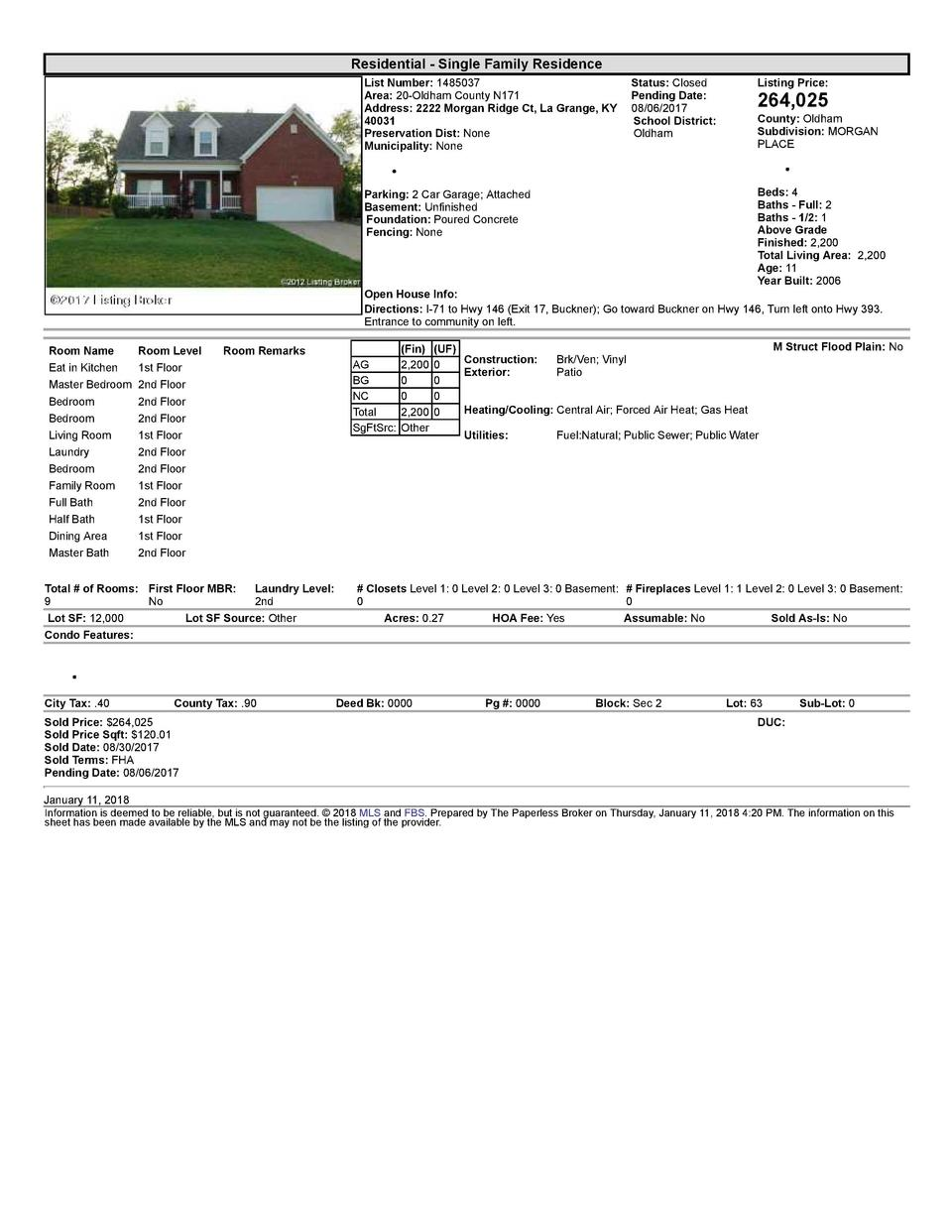Residential      Single  Family  Residence List  Number   1485037    Status   Closed Area   20  Oldham  County  N171 Pe...