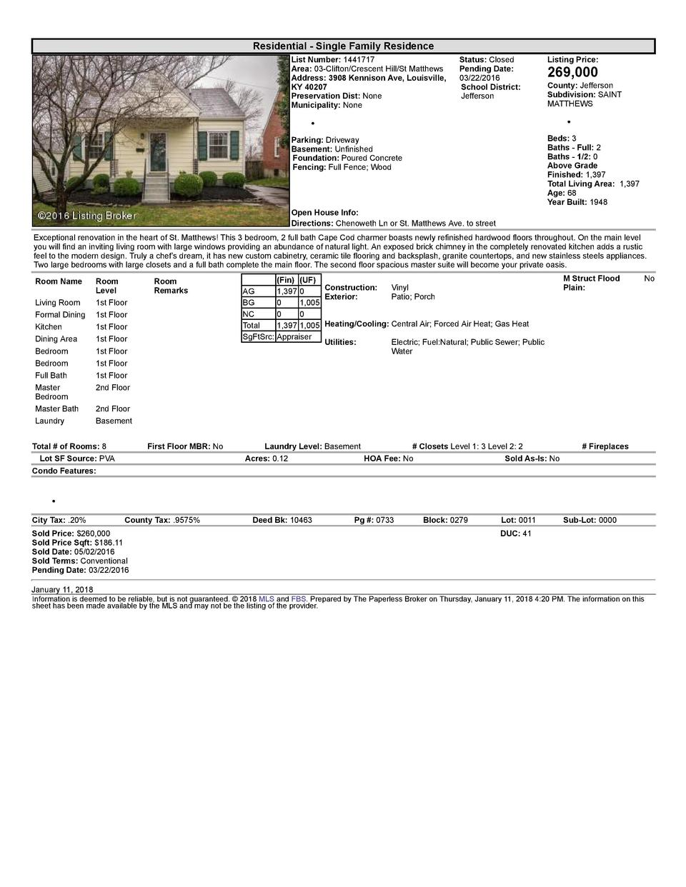 Residential      Single  Family  Residence List  Number   1441717 Area   03  Clifton Crescent  Hill St  Matthews Addres...