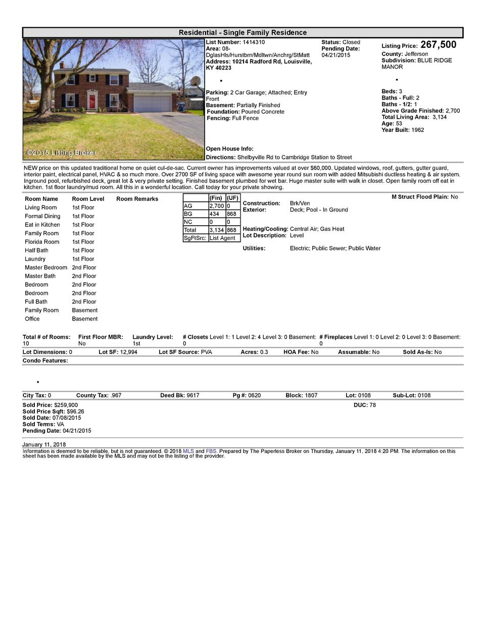 Residential      Single  Family  Residence List  Number   1414310 Area   08   DglasHls Hurstbrn Mdltwn Anchrg StMatt Ad...