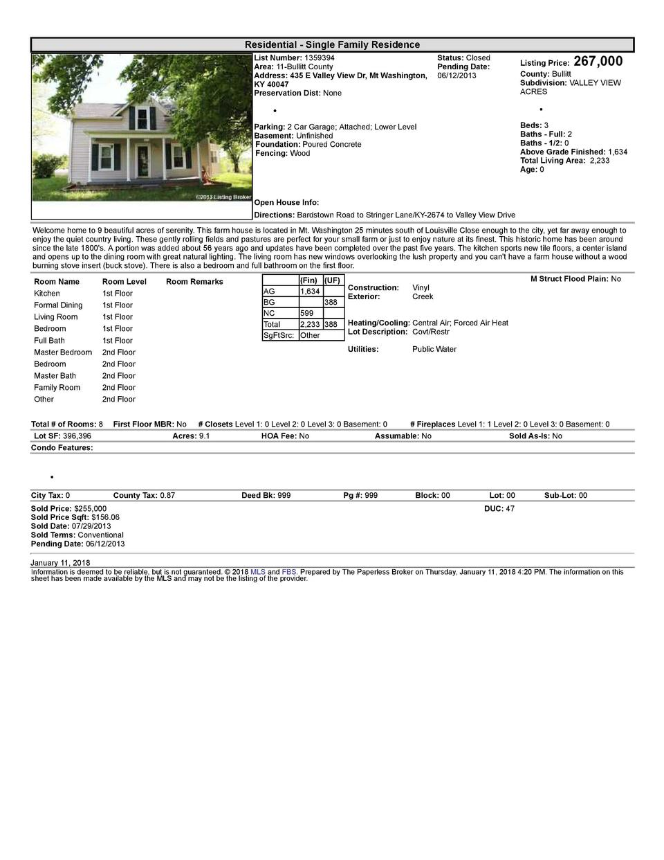Residential      Single  Family  Residence    267,000  List  Number   1359394    Status   Closed Area   11  Bullitt  Co...