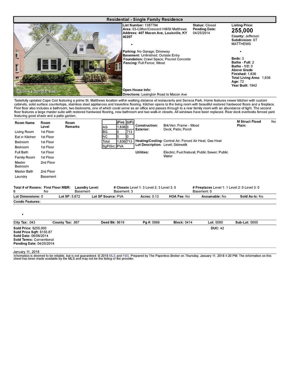 Residential      Single  Family  Residence List  Number   1387794 Area   03  Clifton Crescent  Hill St  Matthews Addres...