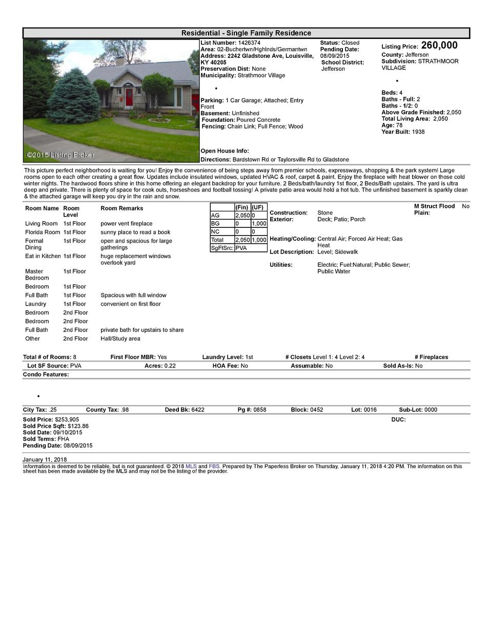 Residential      Single  Family  Residence List  Number   1426374    Status   Closed Area   02  Buchertwn Hghlnds Germa...