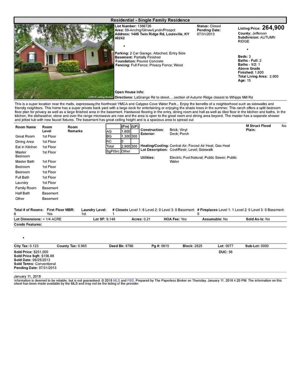 Residential      Single  Family  Residence List  Number   1366726 Area   09  Anchrg Glnvw Lyndn Prospct Address   1405 ...