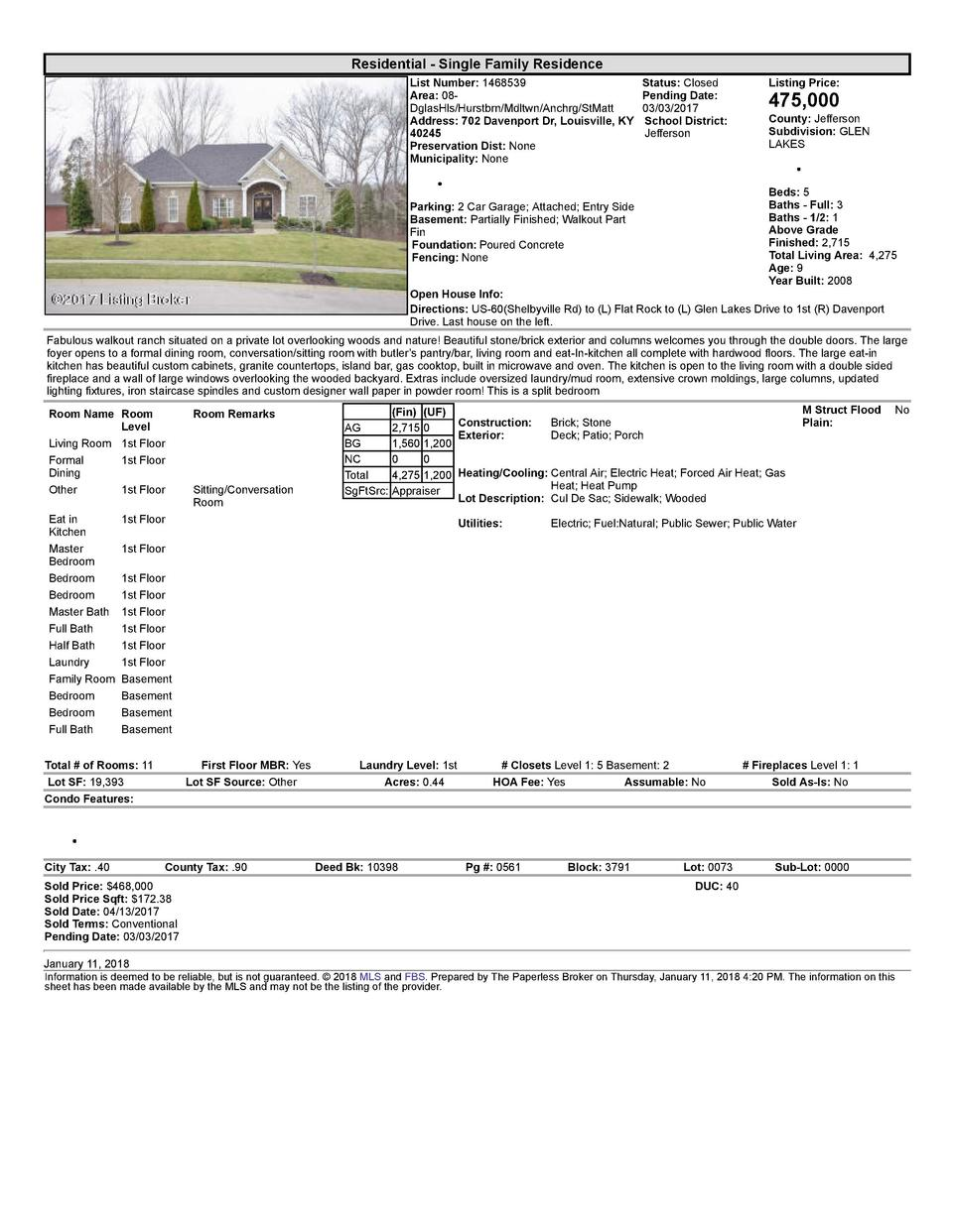 Residential      Single  Family  Residence List  Number   1468539 Area   08   DglasHls Hurstbrn Mdltwn Anchrg StMatt Ad...