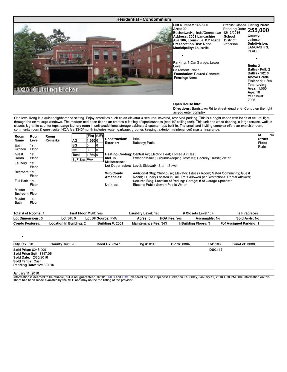 Residential      Condominium List  Number   1459906    Status   Closed Area   02   Pending  Date  Buchertwn Hghlnds Ger...