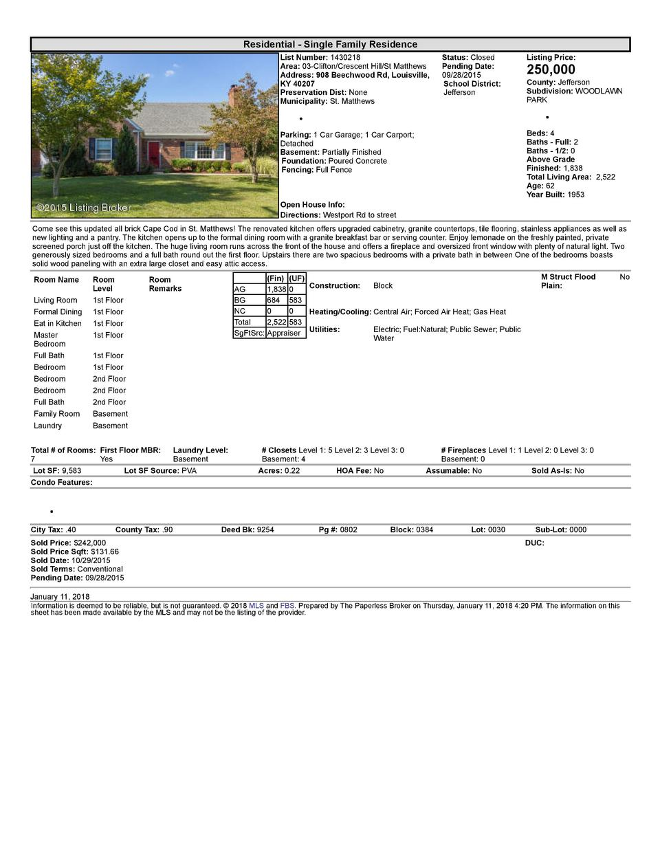 Residential      Single  Family  Residence List  Number   1430218 Area   03  Clifton Crescent  Hill St  Matthews Addres...