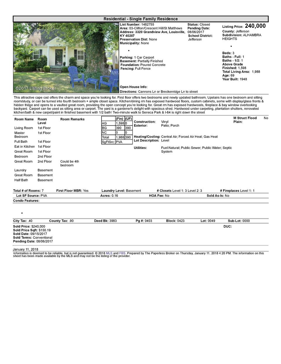 Residential      Single  Family  Residence List  Number   1482755    Status   Closed Area   03  Clifton Crescent  Hill ...