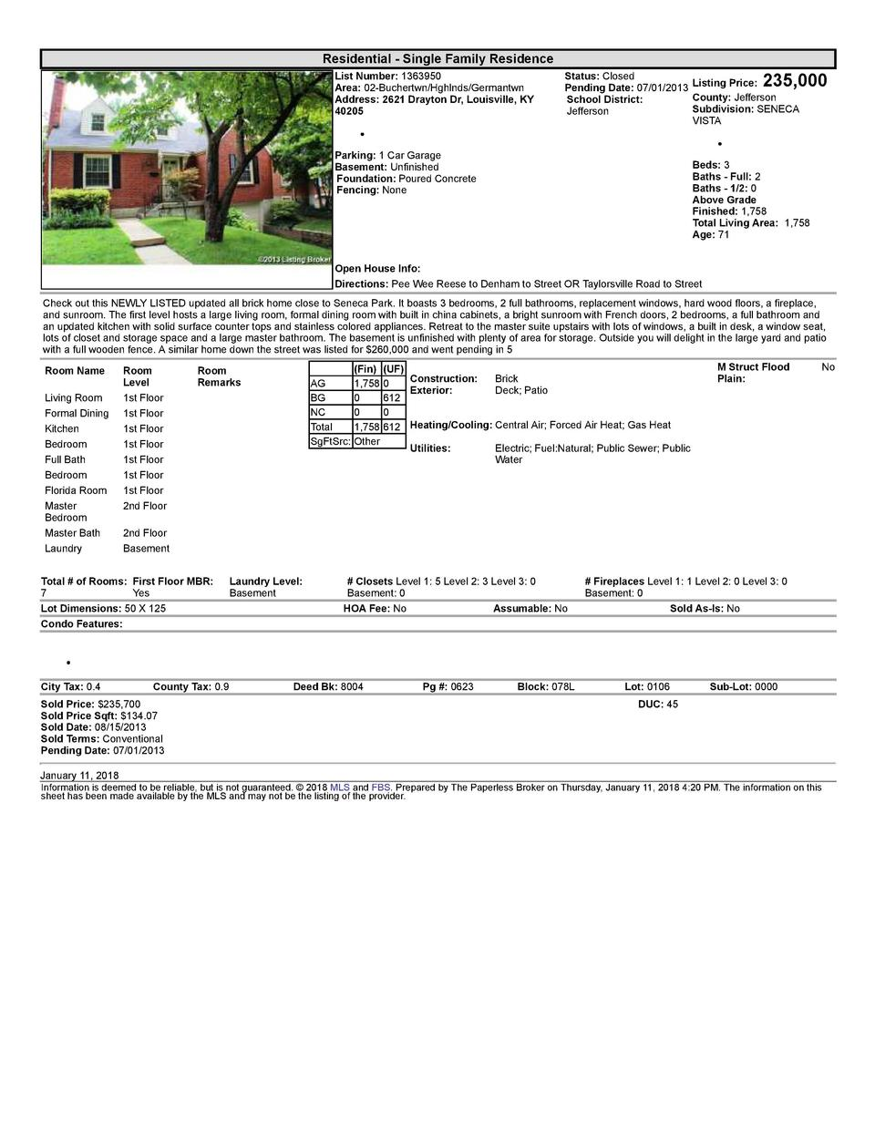 Residential      Single  Family  Residence List  Number   1363950 Area   02  Buchertwn Hghlnds Germantwn Address   2621...