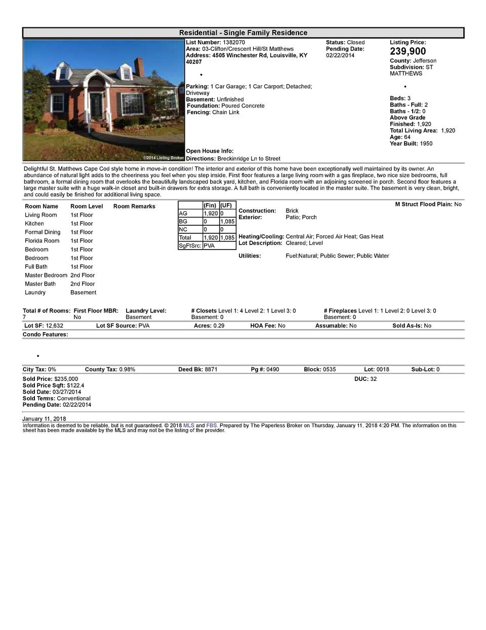 Residential      Single  Family  Residence List  Number   1382070 Area   03  Clifton Crescent  Hill St  Matthews Addres...