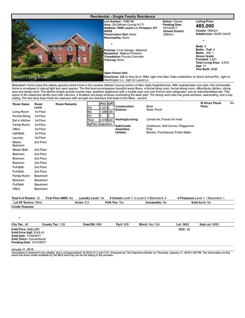 Residential      Single  Family  Residence List  Number   1486146 Area   20  Oldham  County  N171 Address   5905  Laure...