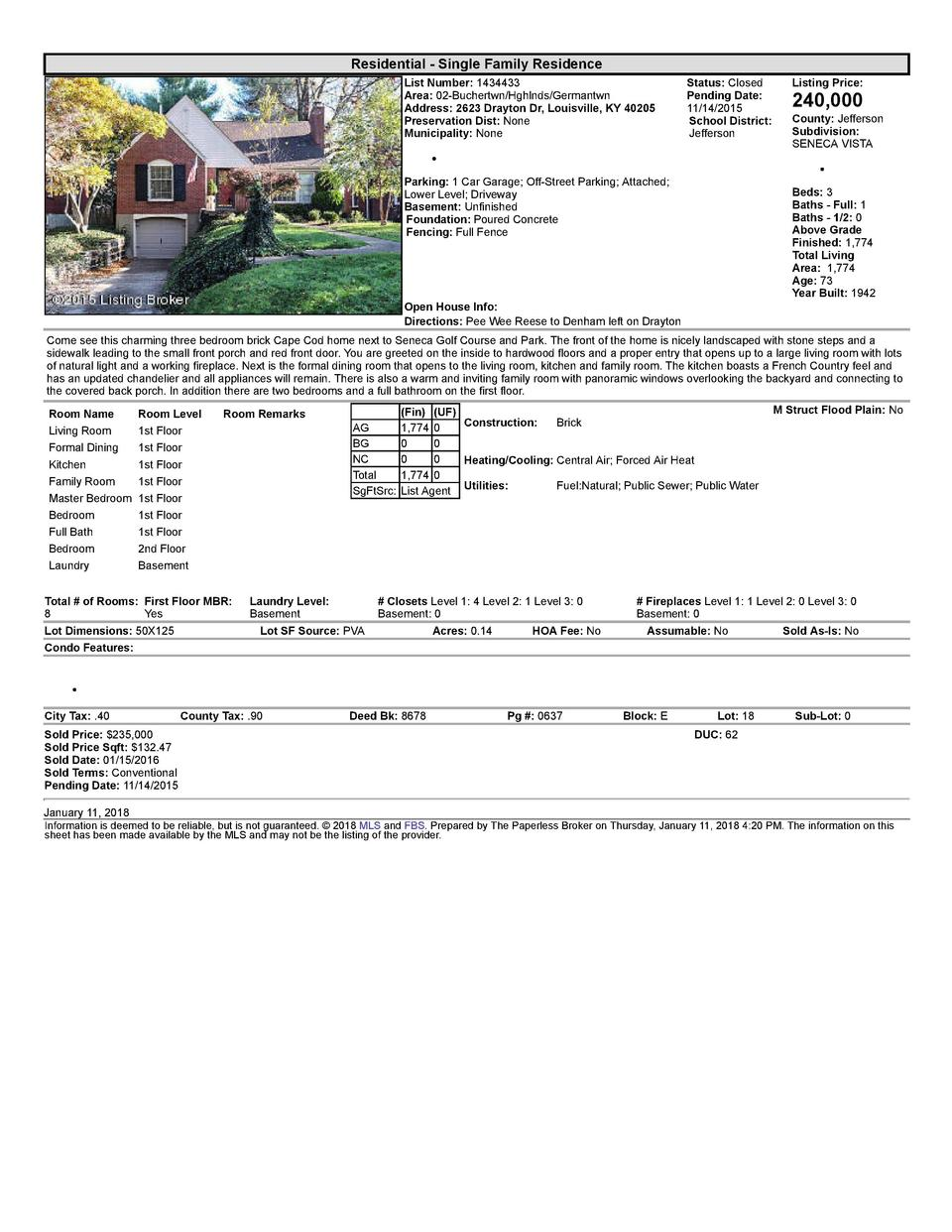 Residential      Single  Family  Residence List  Number   1434433 Area   02  Buchertwn Hghlnds Germantwn Address   2623...