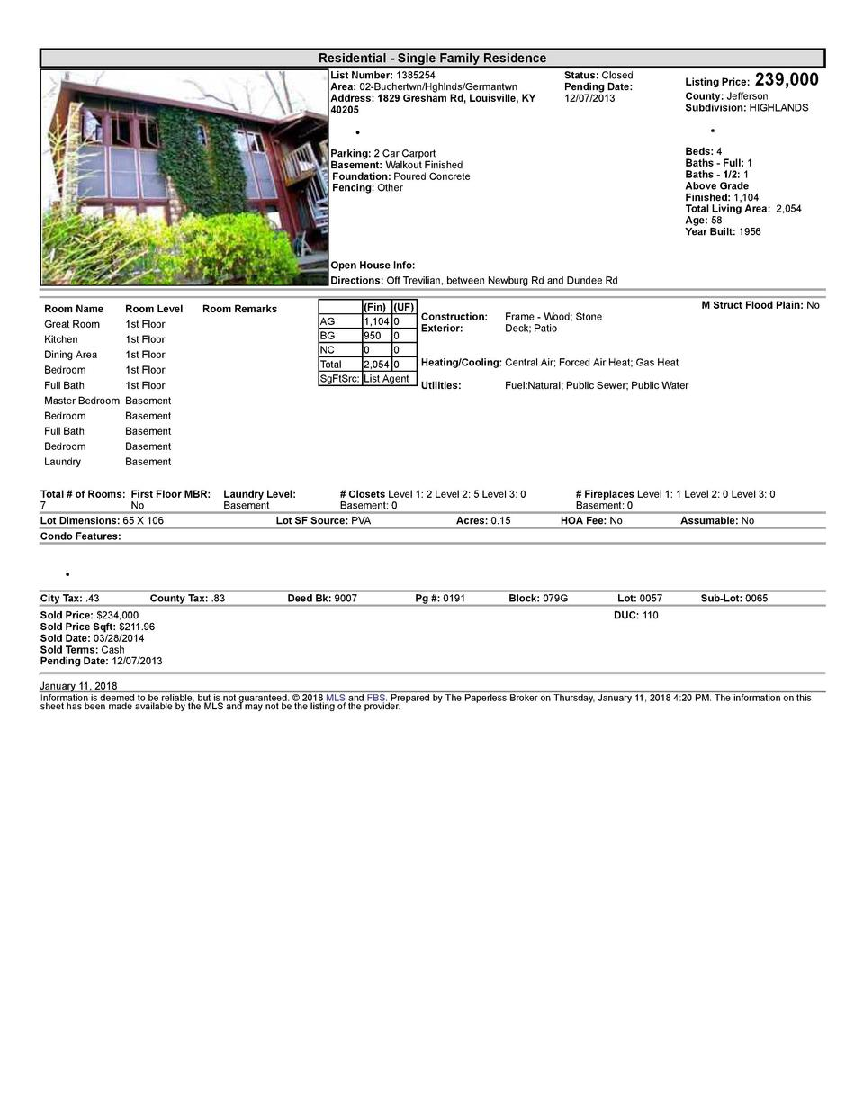 Residential      Single  Family  Residence List  Number   1385254 Area   02  Buchertwn Hghlnds Germantwn Address   1829...