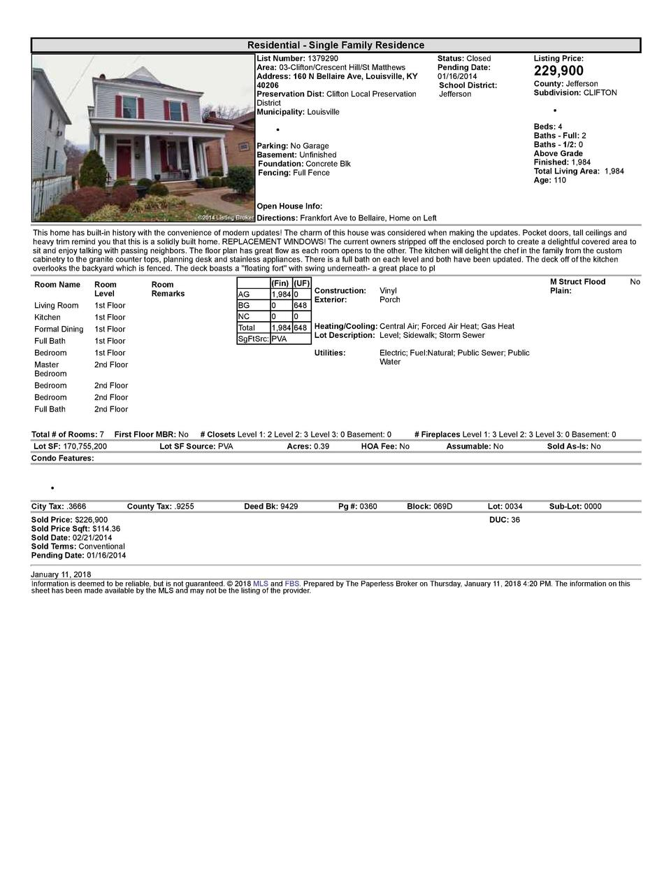 Residential      Single  Family  Residence List  Number   1379290 Area   03  Clifton Crescent  Hill St  Matthews Addres...