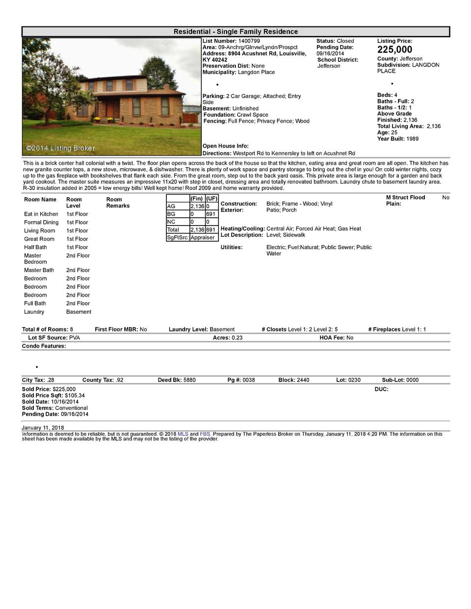 Residential      Single  Family  Residence List  Number   1400799 Area   09  Anchrg Glnvw Lyndn Prospct Address   8904 ...