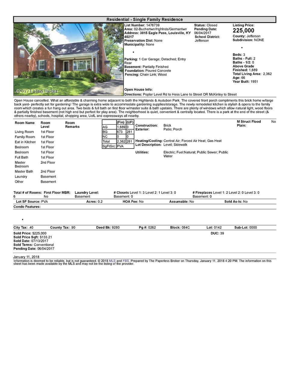 Residential      Single  Family  Residence List  Number   1476739    Status   Closed Area   02  Buchertwn Hghlnds Germa...