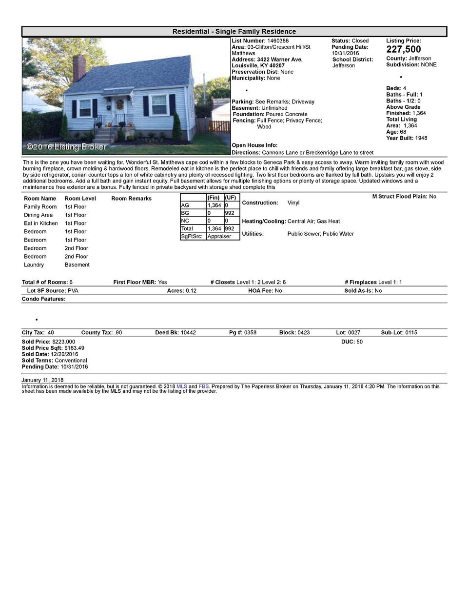 Residential      Single  Family  Residence List  Number   1460386 Area   03  Clifton Crescent  Hill St Matthews Address...