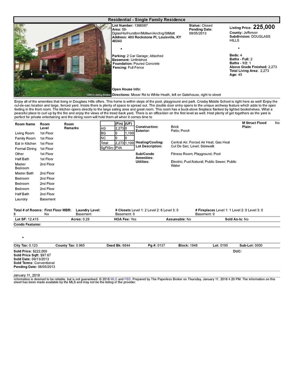 Residential      Single  Family  Residence List  Number   1366587 Area   08   DglasHls Hurstbrn Mdltwn Anchrg StMatt Ad...