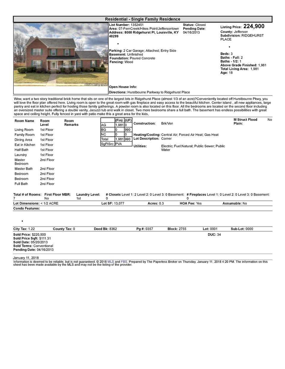 Residential      Single  Family  Residence    224,900  List  Number   1352451    Status   Closed Area   07  FernCreek H...