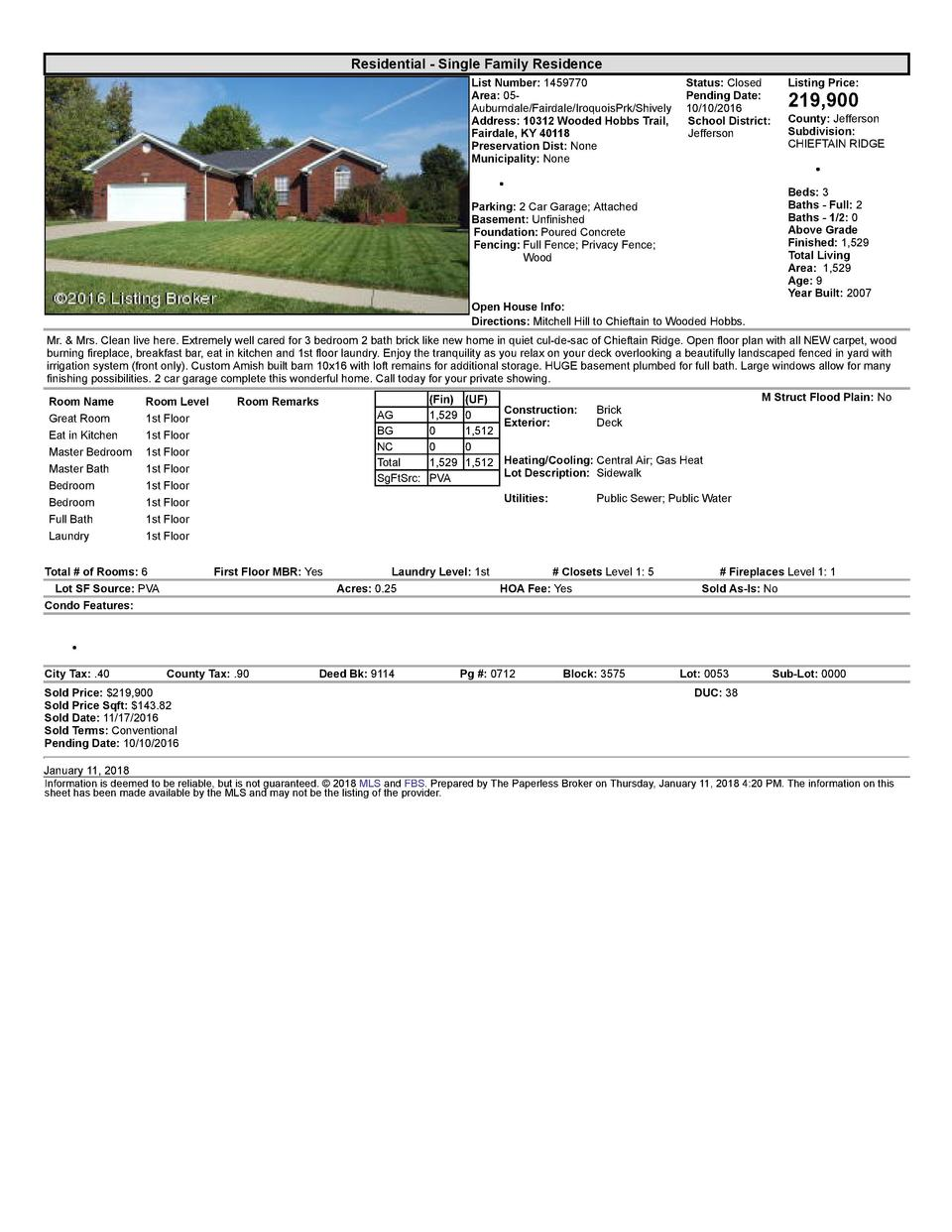 Residential      Single  Family  Residence List  Number   1459770    Status   Closed Listing  Price  Area   05   Pendin...