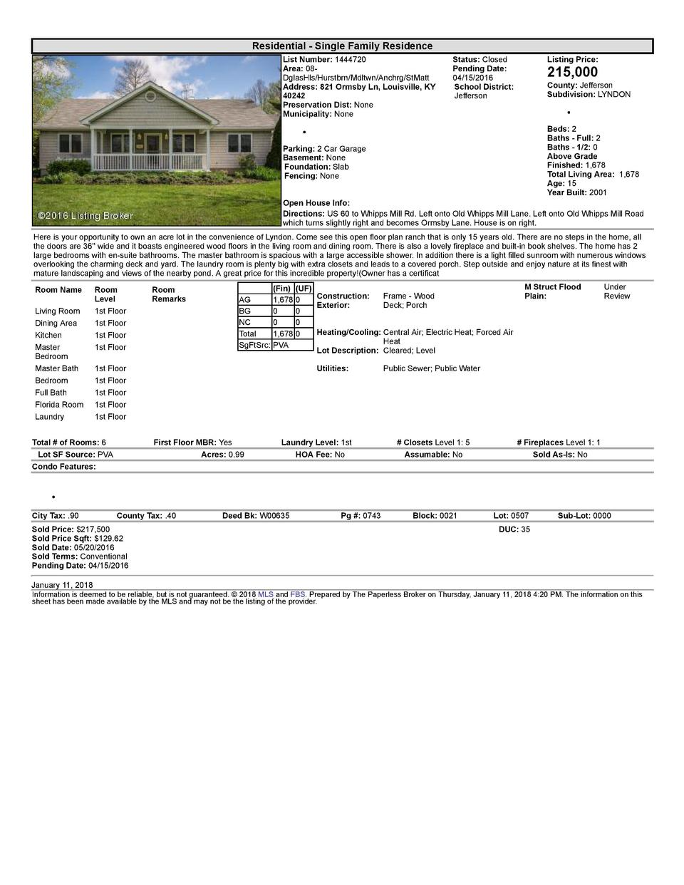 Residential      Single  Family  Residence List  Number   1444720 Area   08   DglasHls Hurstbrn Mdltwn Anchrg StMatt Ad...