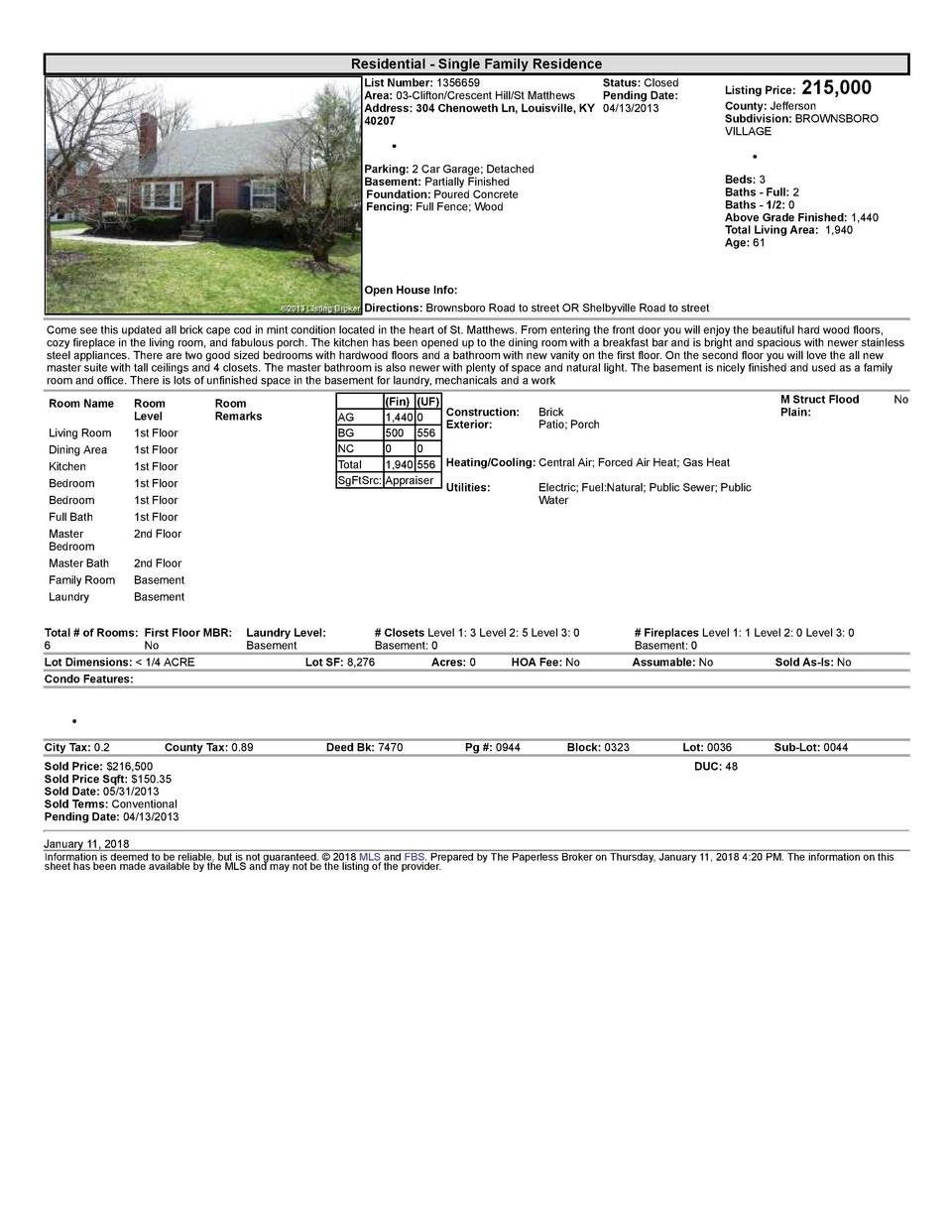 Residential      Single  Family  Residence    215,000  List  Number   1356659    Status   Closed Area   03  Clifton Cre...