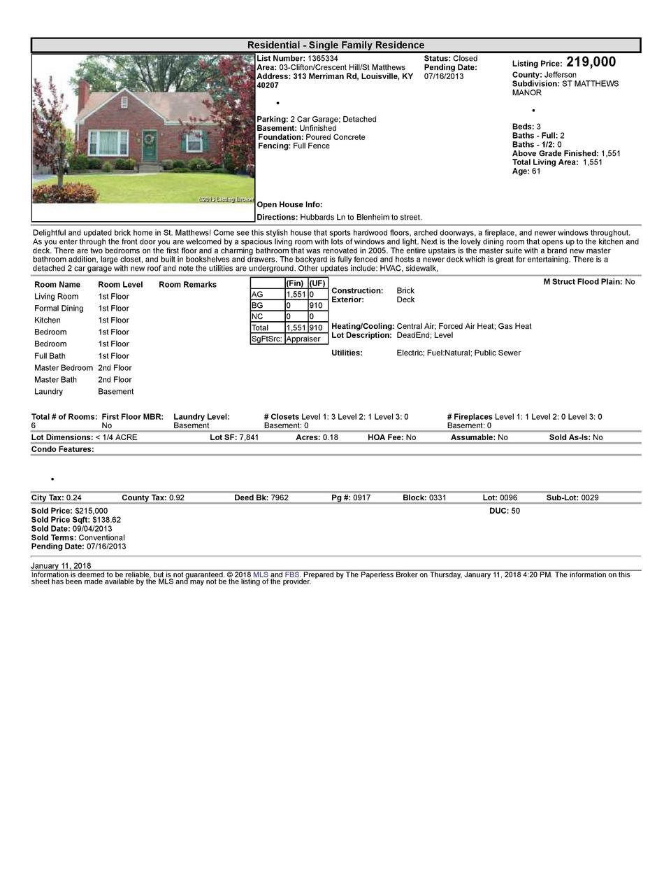 Residential      Single  Family  Residence    219,000  List  Number   1365334    Status   Closed Area   03  Clifton Cre...