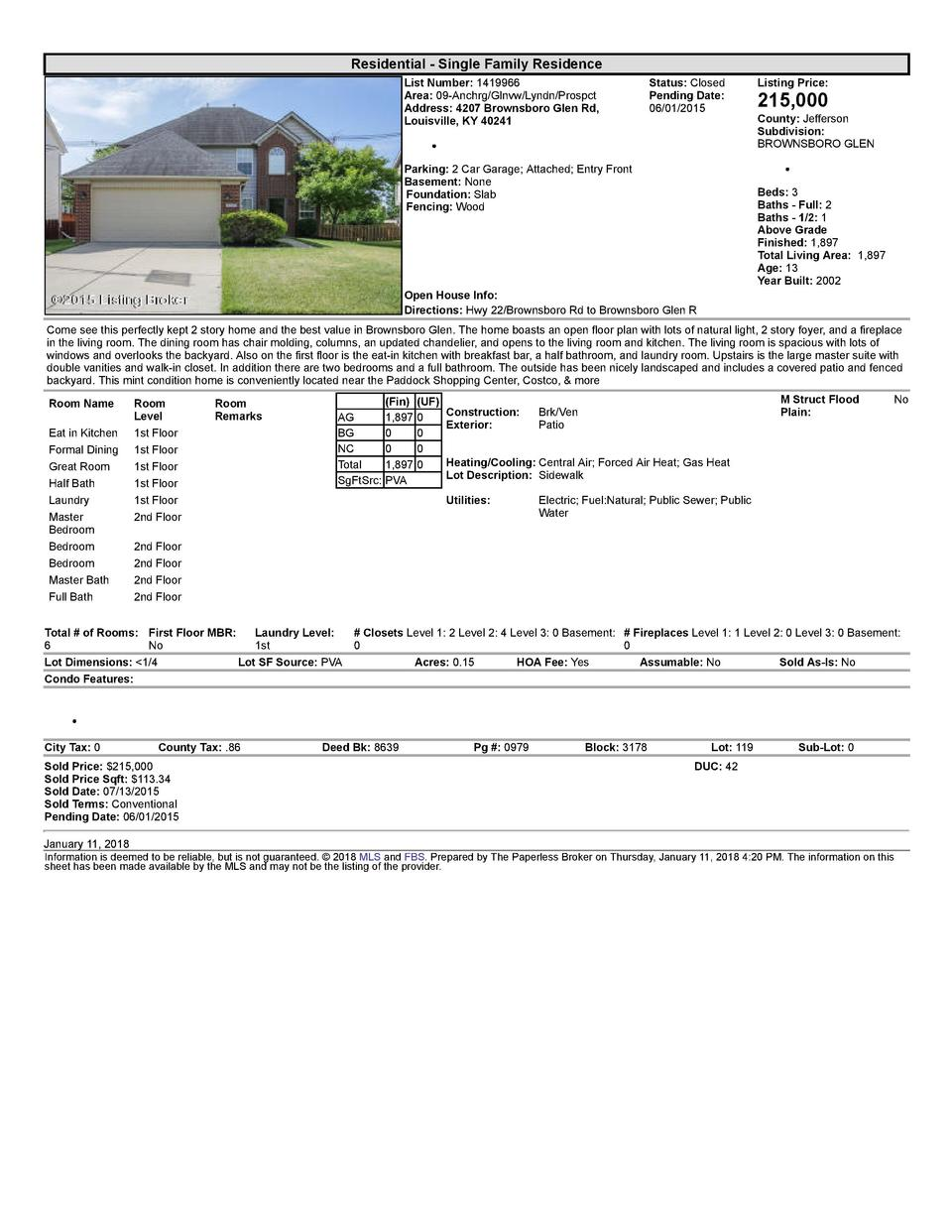 Residential      Single  Family  Residence List  Number   1419966 Area   09  Anchrg Glnvw Lyndn Prospct Address   4207 ...