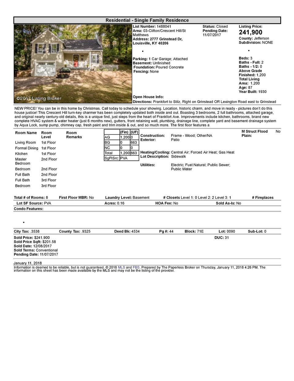 Residential      Single  Family  Residence List  Number   1488041 Area   03  Clifton Crescent  Hill St Matthews Address...