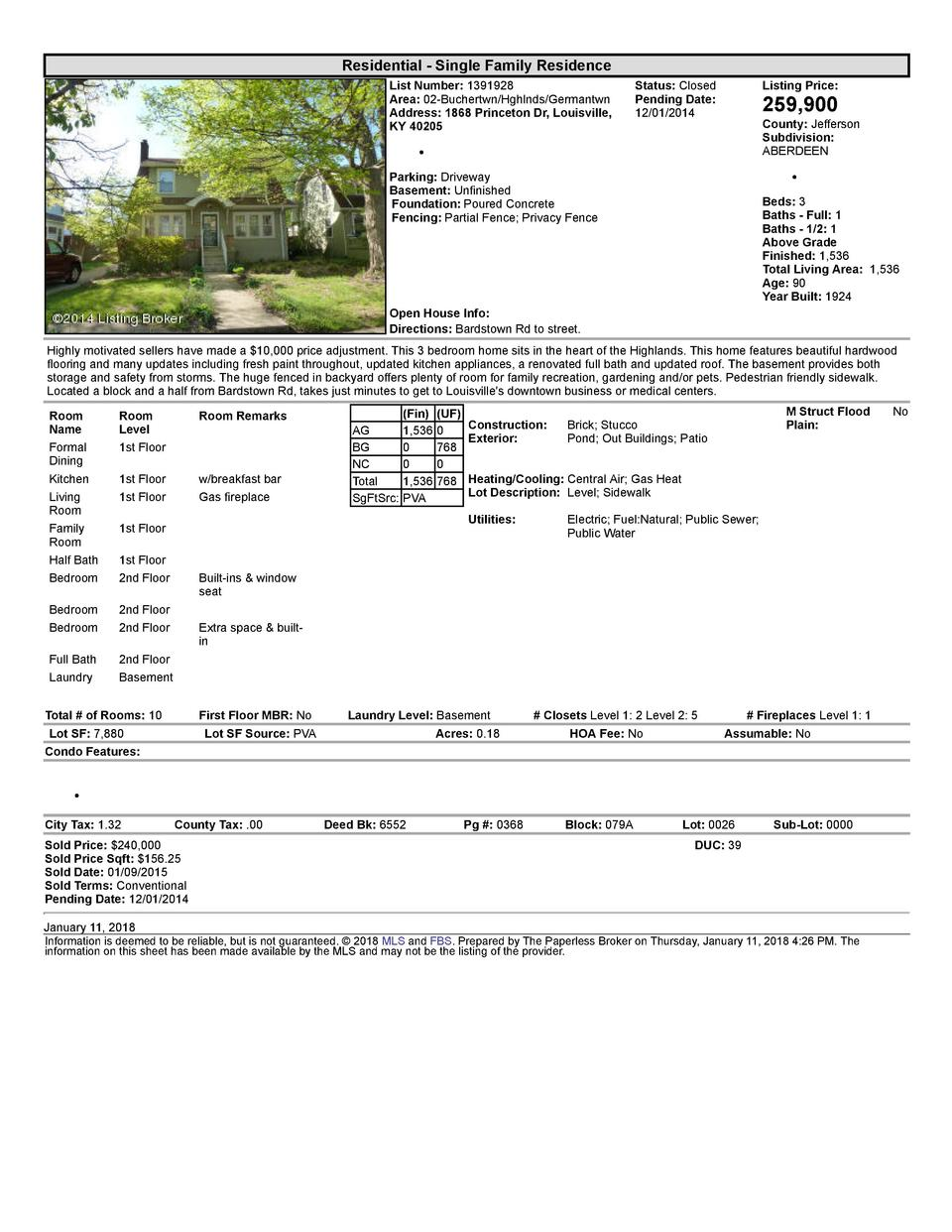 Residential      Single  Family  Residence List  Number   1391928 Area   02  Buchertwn Hghlnds Germantwn Address   1868...