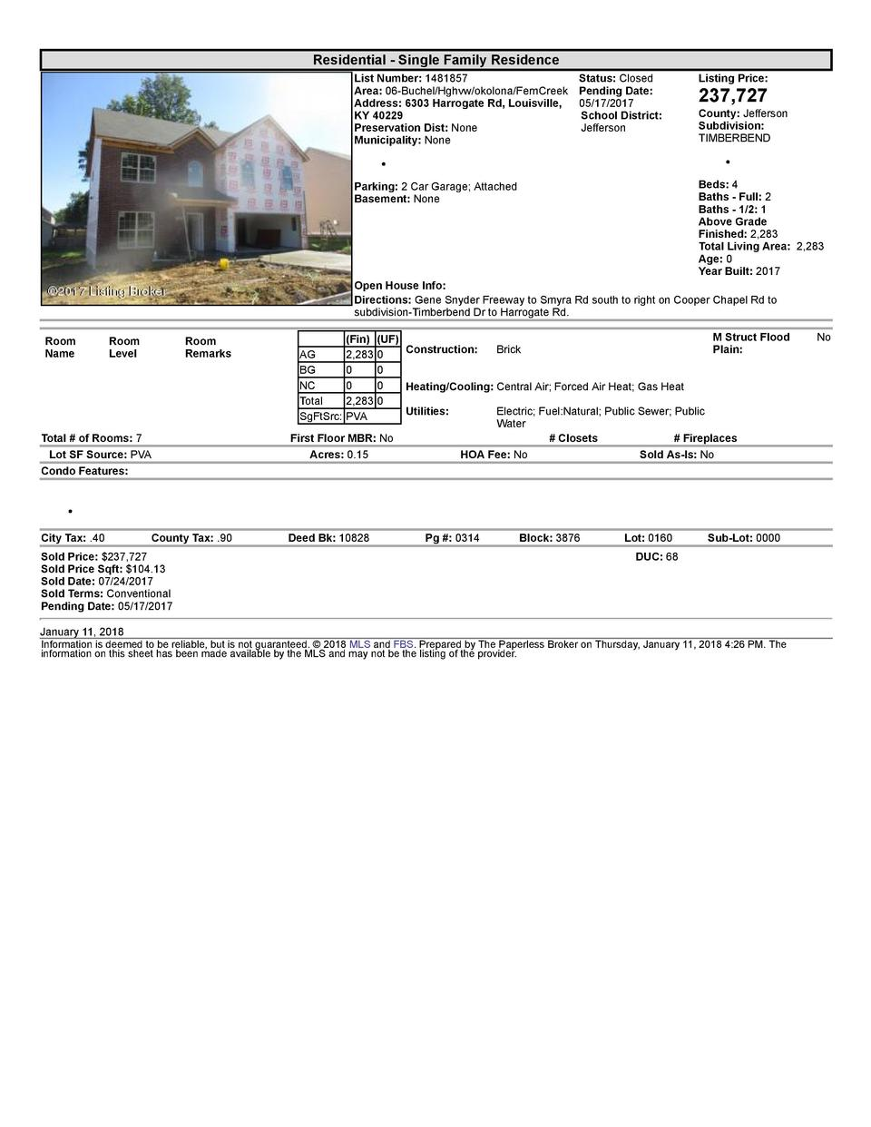 Residential      Single  Family  Residence List  Number   1481857    Status   Closed Area   06  Buchel Hghvw okolona Fe...