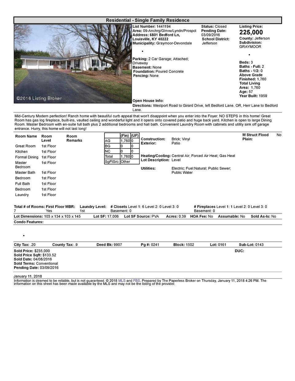 Residential      Single  Family  Residence List  Number   1441194    Status   Closed Area   09  Anchrg Glnvw Lyndn Pros...