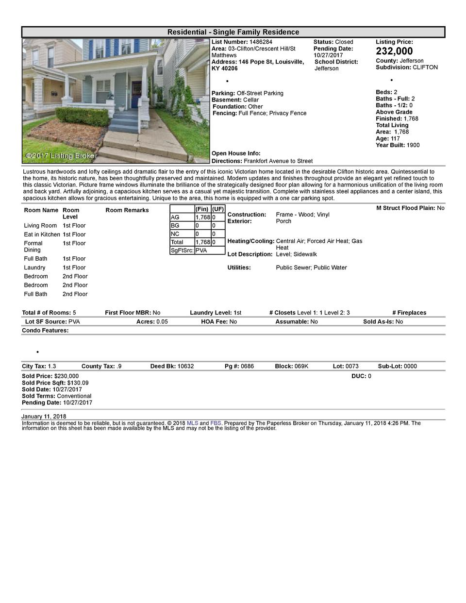 Residential      Single  Family  Residence List  Number   1486284 Area   03  Clifton Crescent  Hill St Matthews Address...