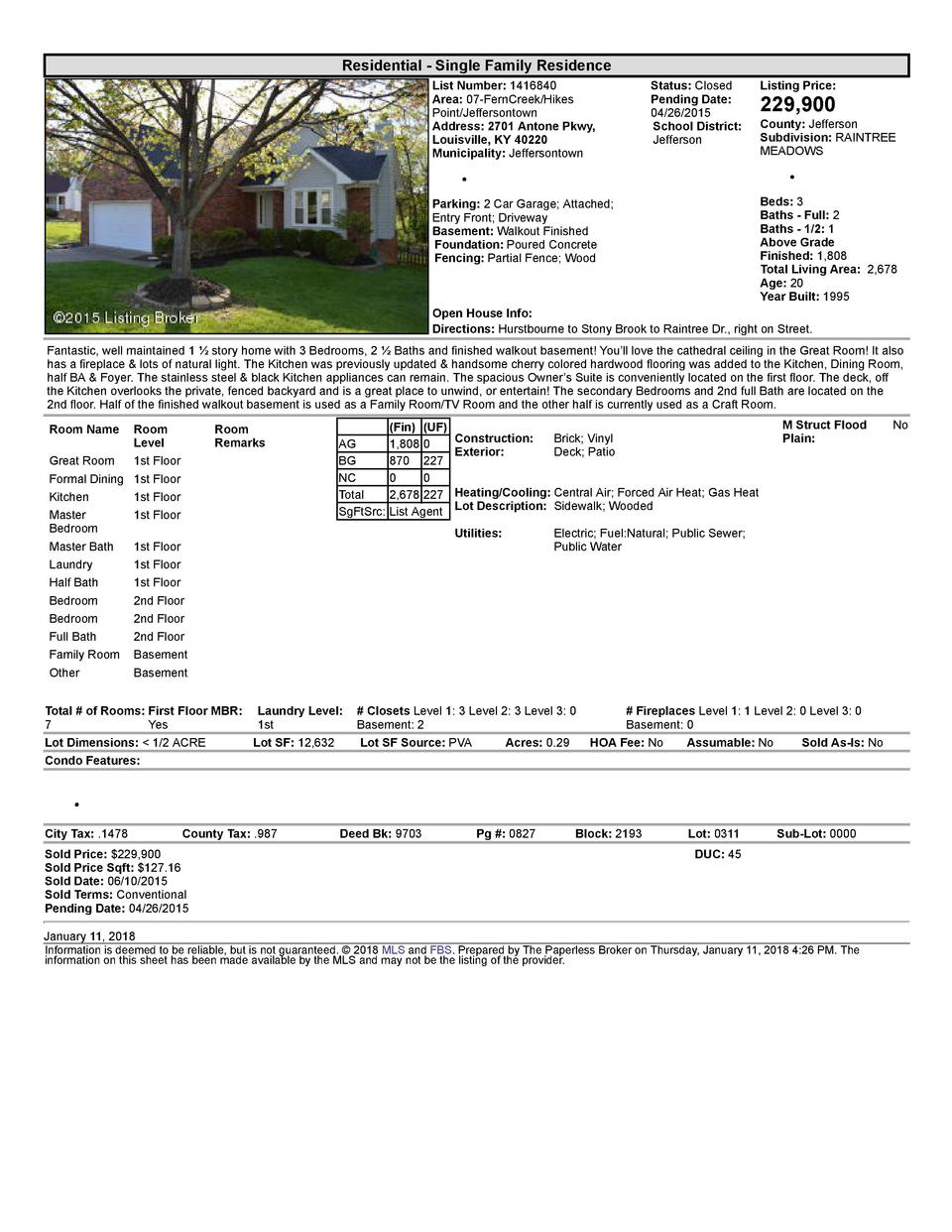 Residential      Single  Family  Residence List  Number   1416840 Area   07  FernCreek Hikes Point Jeffersontown Addres...