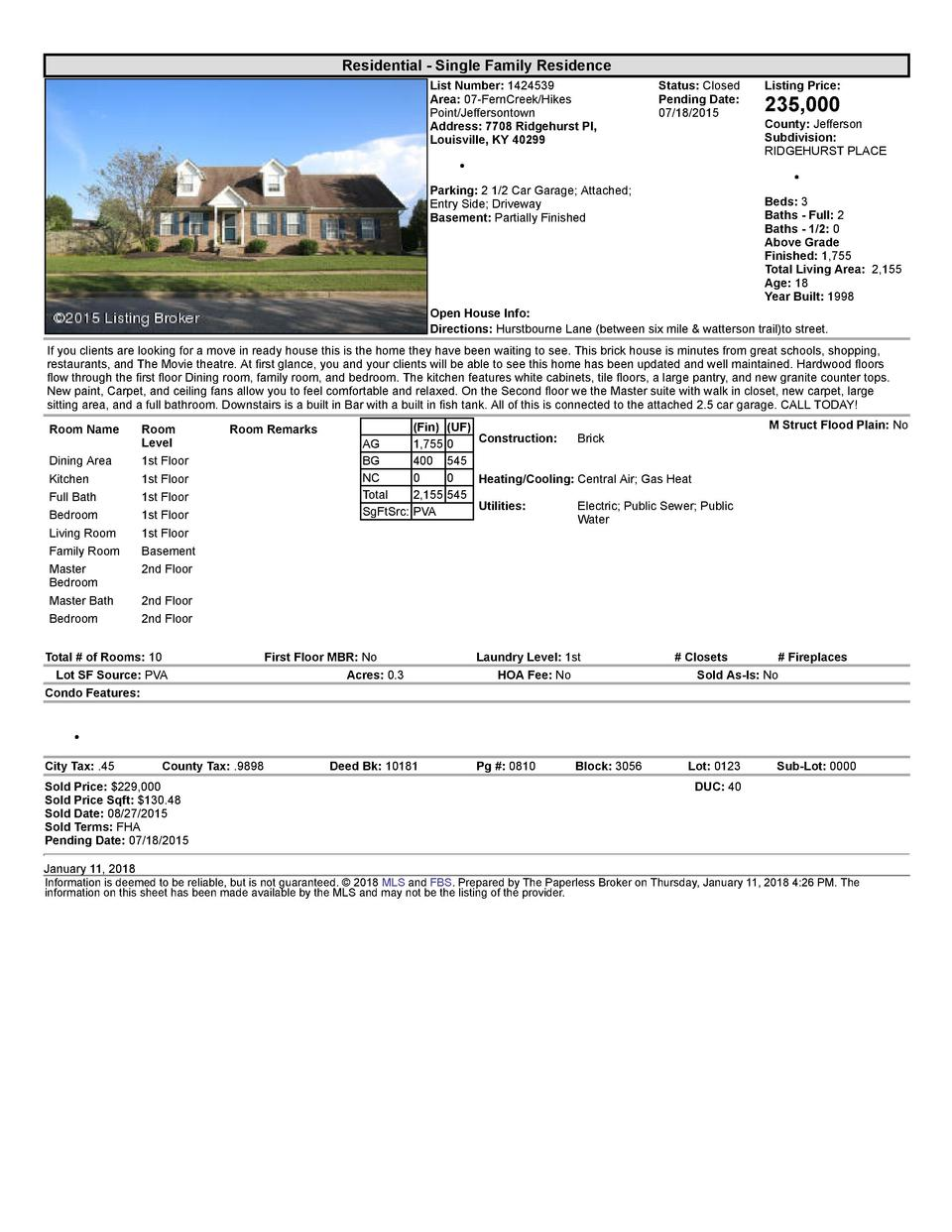 Residential      Single  Family  Residence List  Number   1424539 Area   07  FernCreek Hikes Point Jeffersontown Addres...
