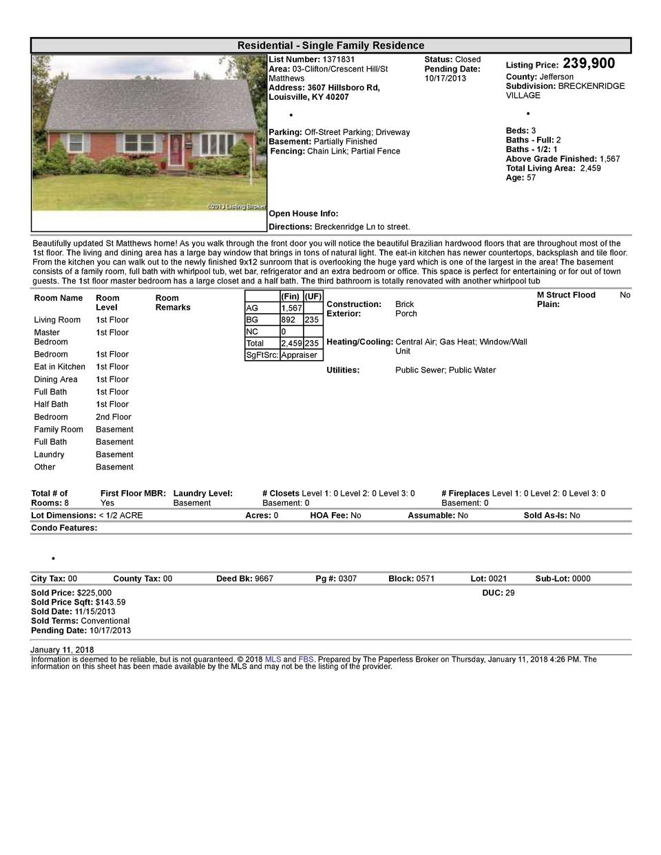 Residential      Single  Family  Residence List  Number   1371831 Area   03  Clifton Crescent  Hill St Matthews Address...
