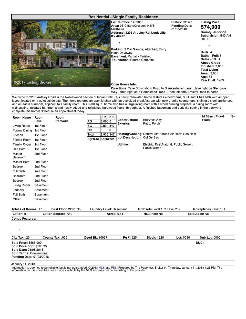 Residential      Single  Family  Residence List  Number   1489058 Area   03  Clifton Crescent  Hill St Matthews Address...