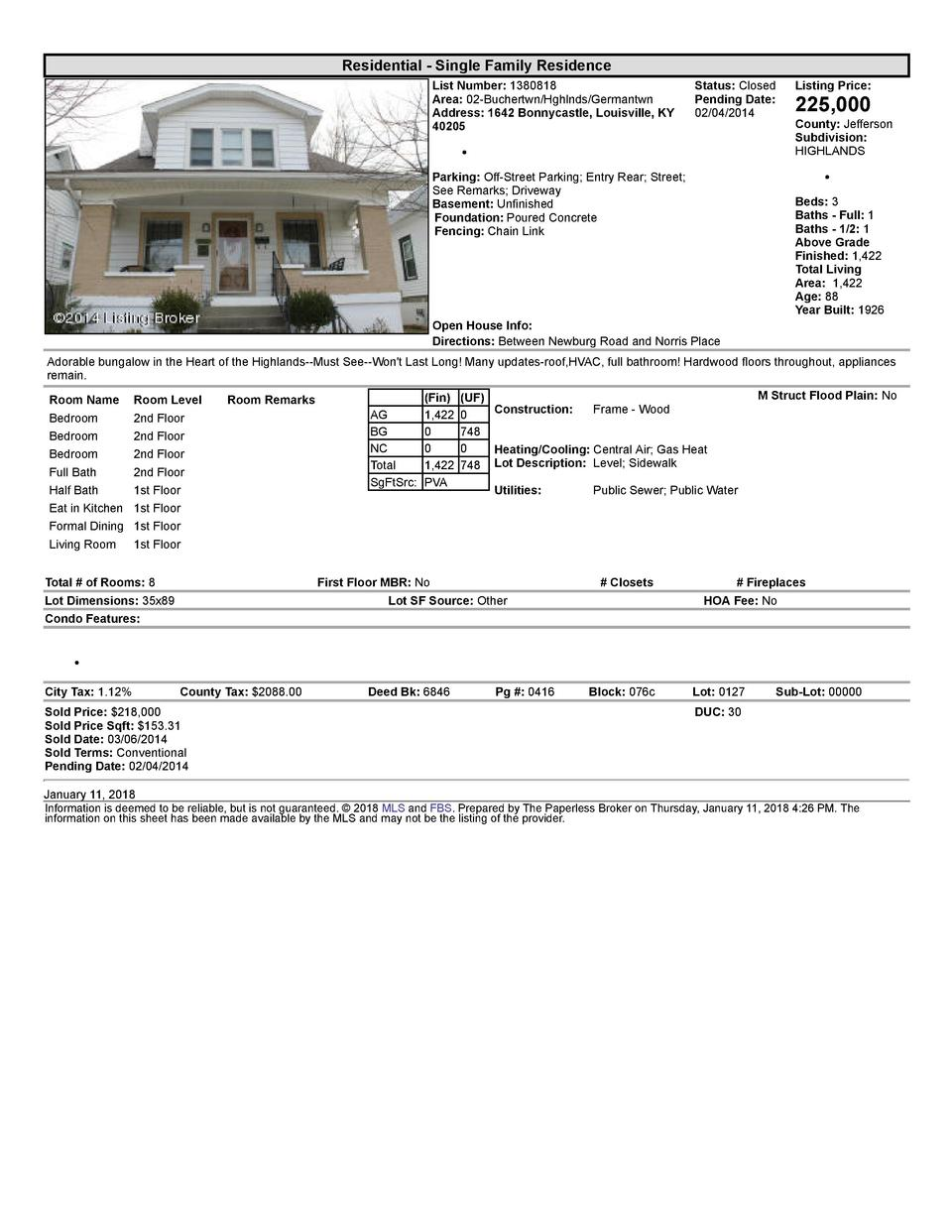 Residential      Single  Family  Residence List  Number   1380818 Area   02  Buchertwn Hghlnds Germantwn Address   1642...