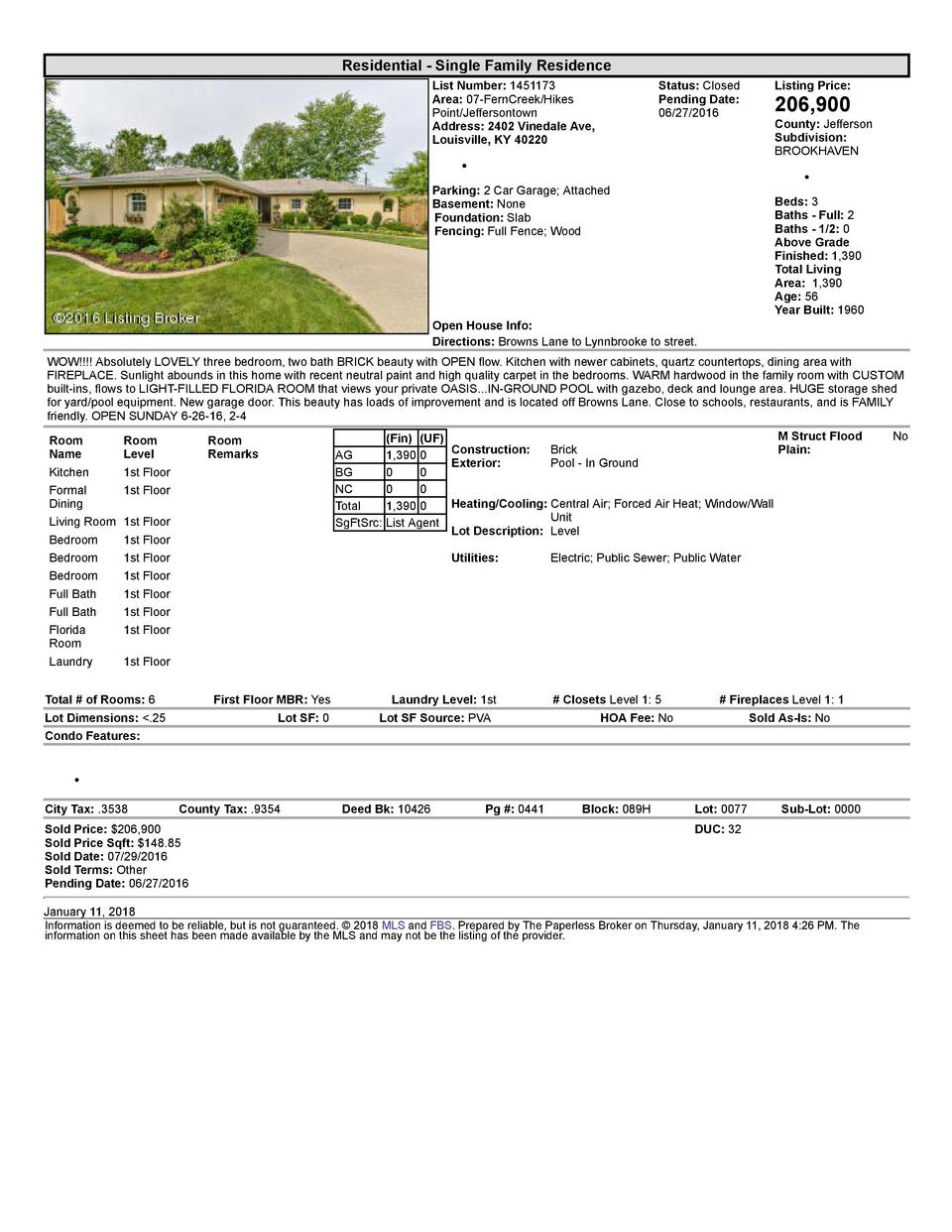 Residential      Single  Family  Residence List  Number   1451173 Area   07  FernCreek Hikes Point Jeffersontown Addres...