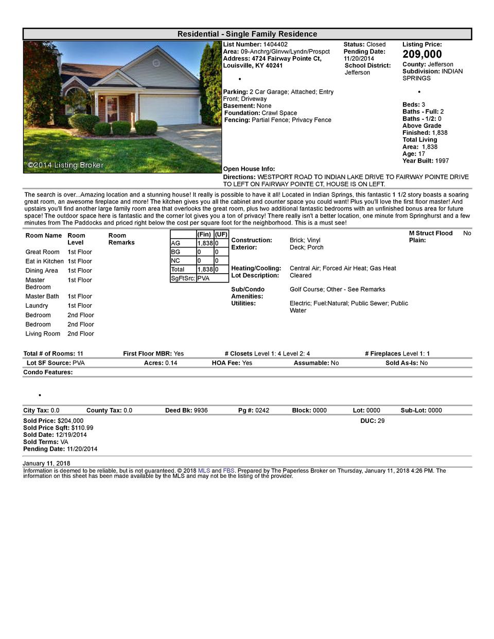 Residential      Single  Family  Residence List  Number   1404402 Area   09  Anchrg Glnvw Lyndn Prospct Address   4724 ...