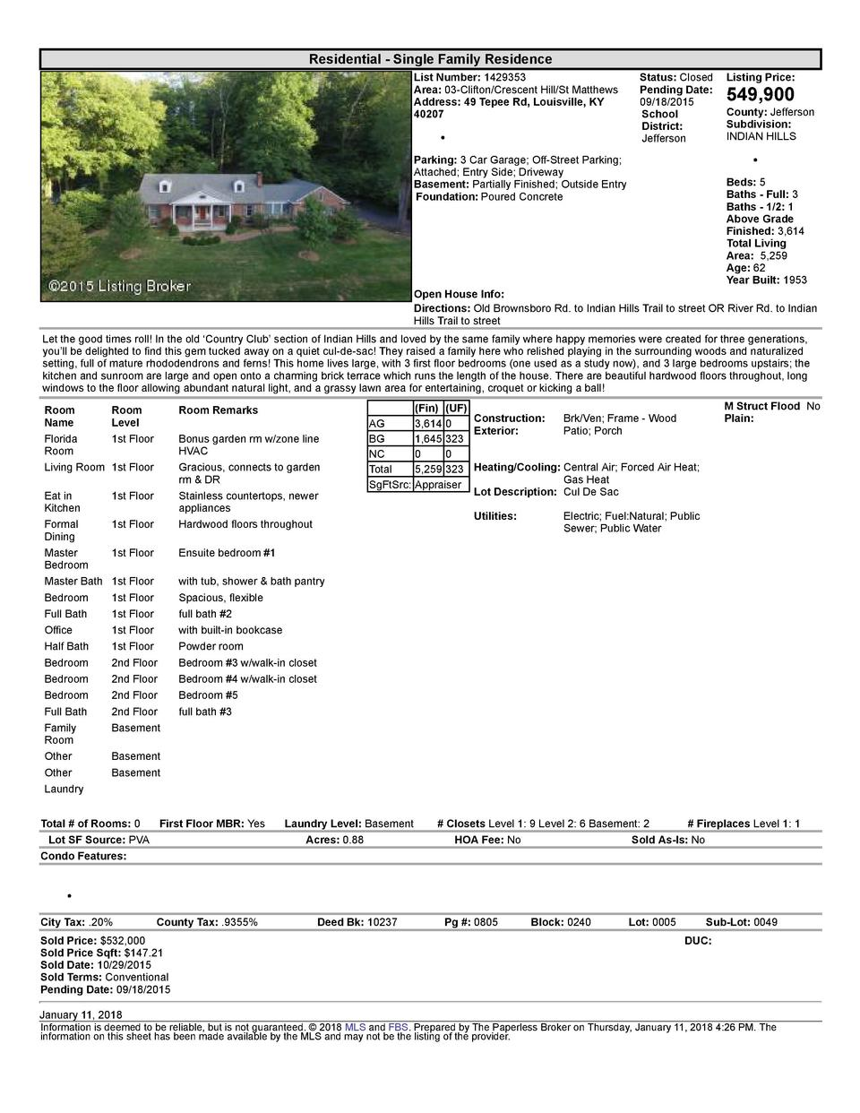Residential      Single  Family  Residence List  Number   1429353 Area   03  Clifton Crescent  Hill St  Matthews Addres...
