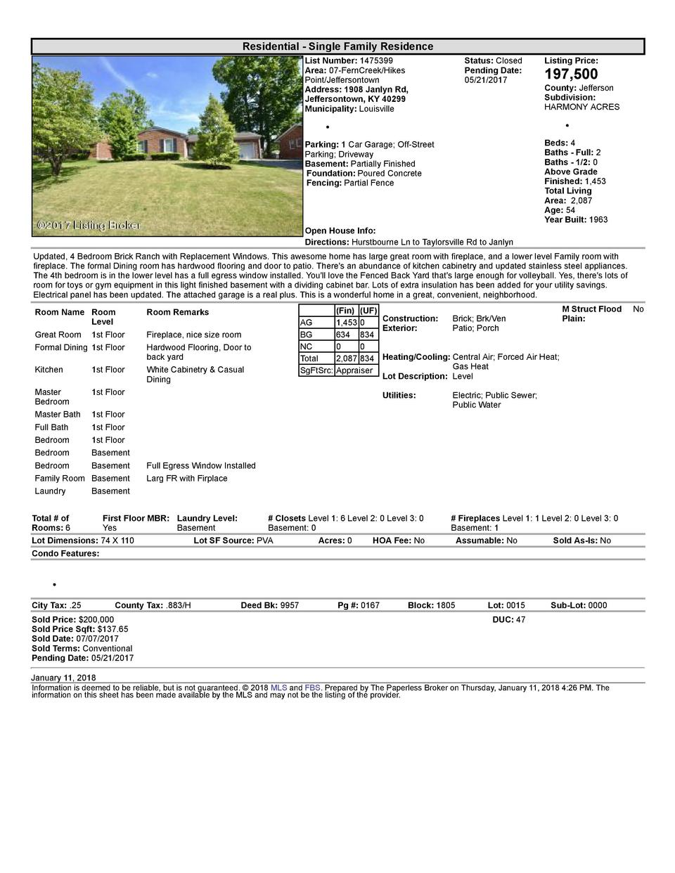 Residential      Single  Family  Residence List  Number   1475399 Area   07  FernCreek Hikes Point Jeffersontown Addres...