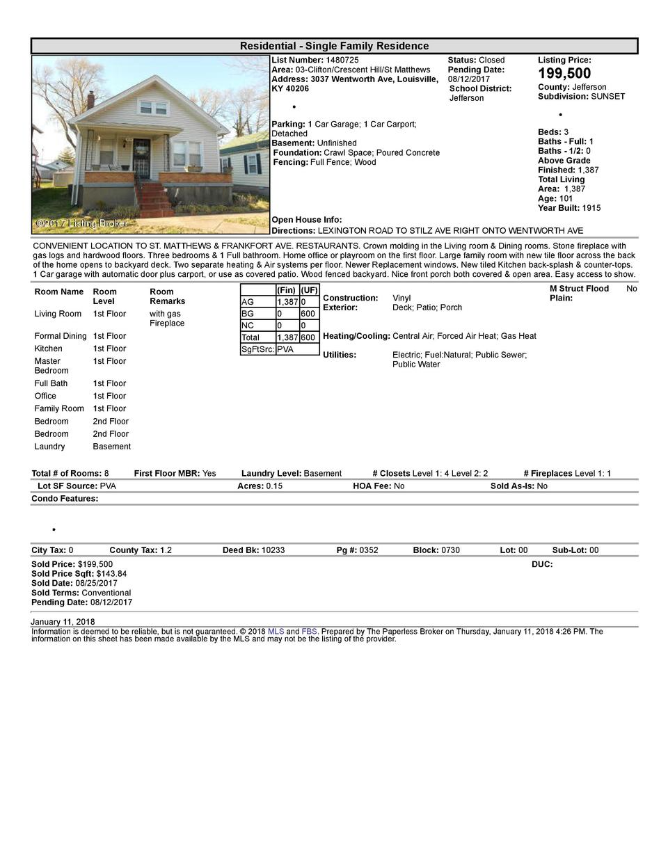 Residential      Single  Family  Residence List  Number   1480725    Status   Closed Area   03  Clifton Crescent  Hill ...