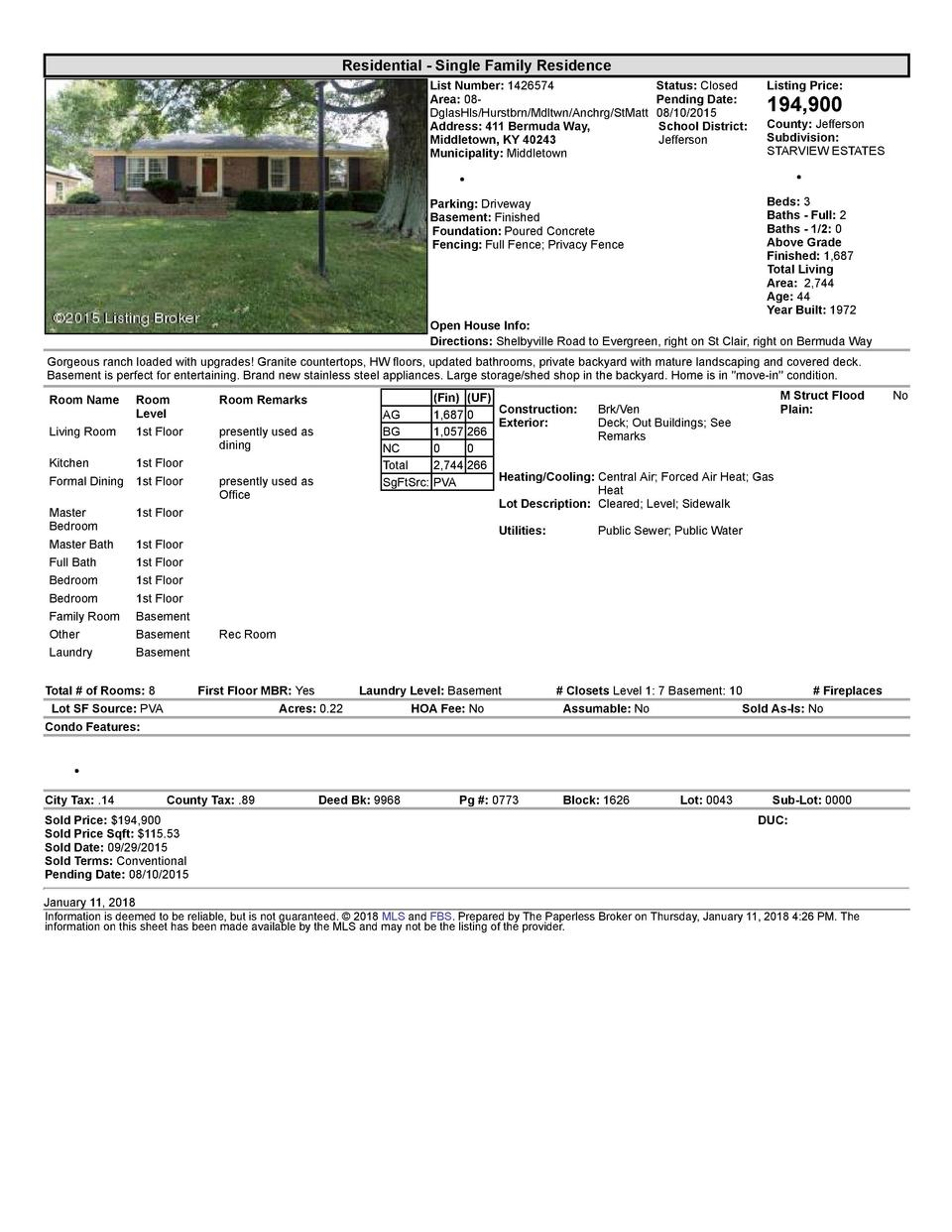 Residential      Single  Family  Residence List  Number   1426574    Status   Closed Listing  Price  Area   08   Pendin...
