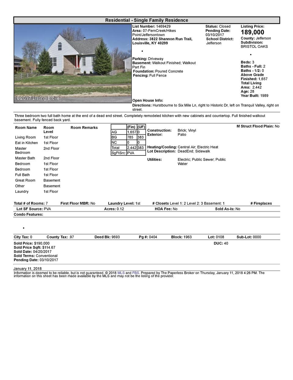 Residential      Single  Family  Residence List  Number   1469429 Area   07  FernCreek Hikes Point Jeffersontown Addres...