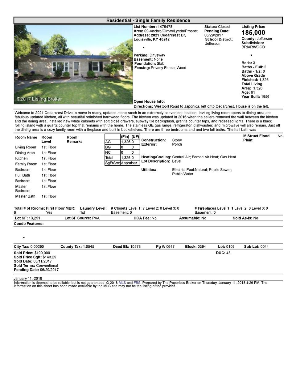 Residential      Single  Family  Residence List  Number   1479478 Area   09  Anchrg Glnvw Lyndn Prospct Address   2021 ...