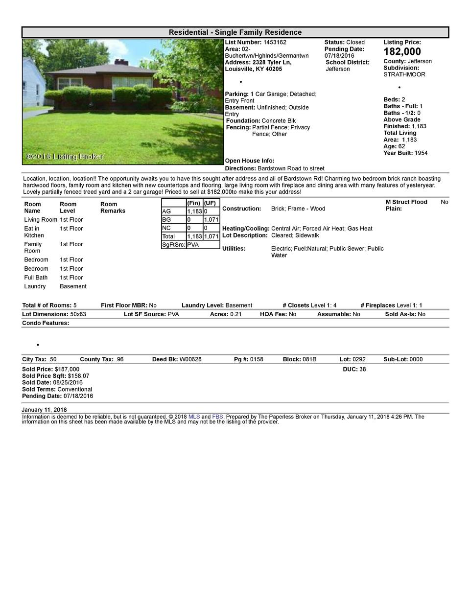 Residential      Single  Family  Residence List  Number   1453162 Area   02   Buchertwn Hghlnds Germantwn Address   232...