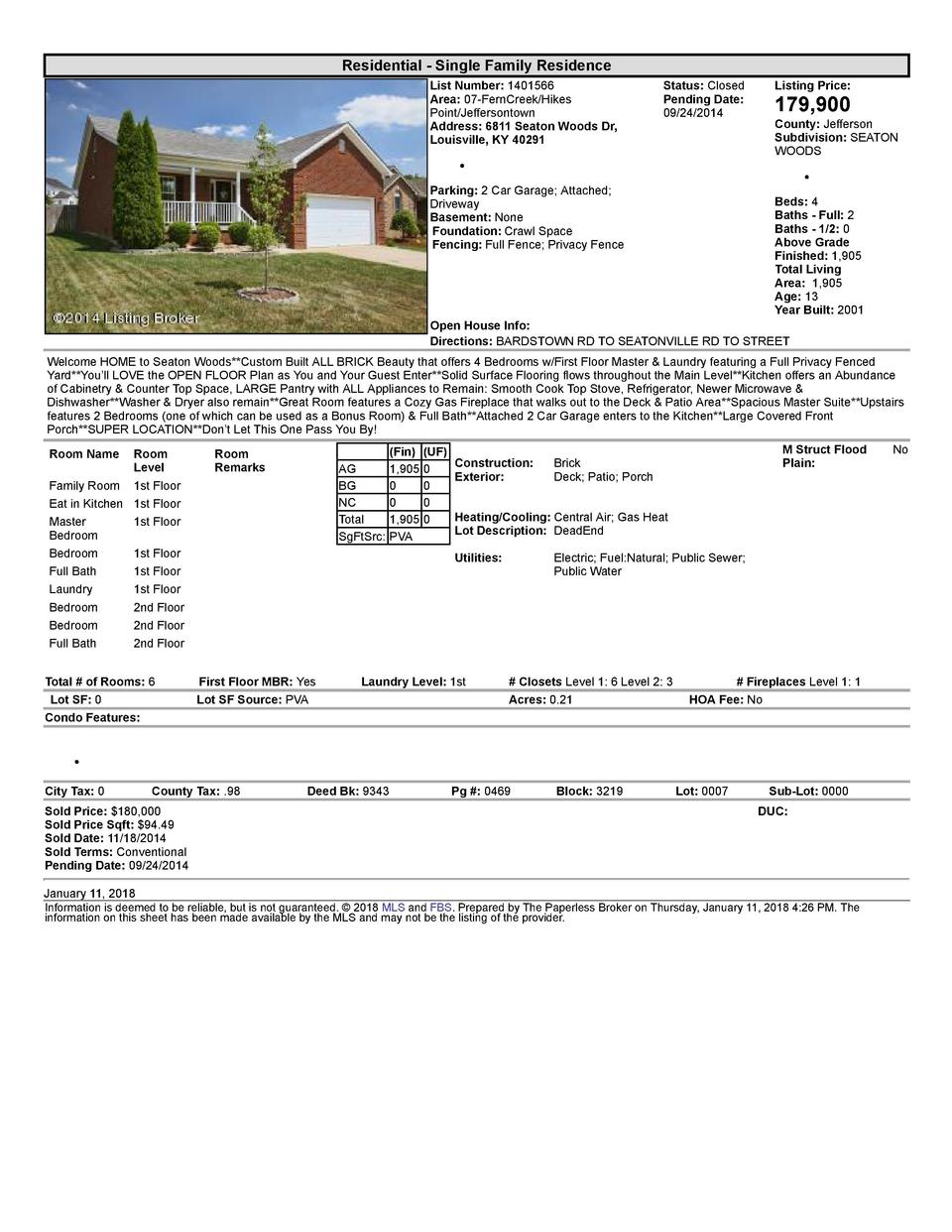 Residential      Single  Family  Residence List  Number   1401566 Area   07  FernCreek Hikes Point Jeffersontown Addres...