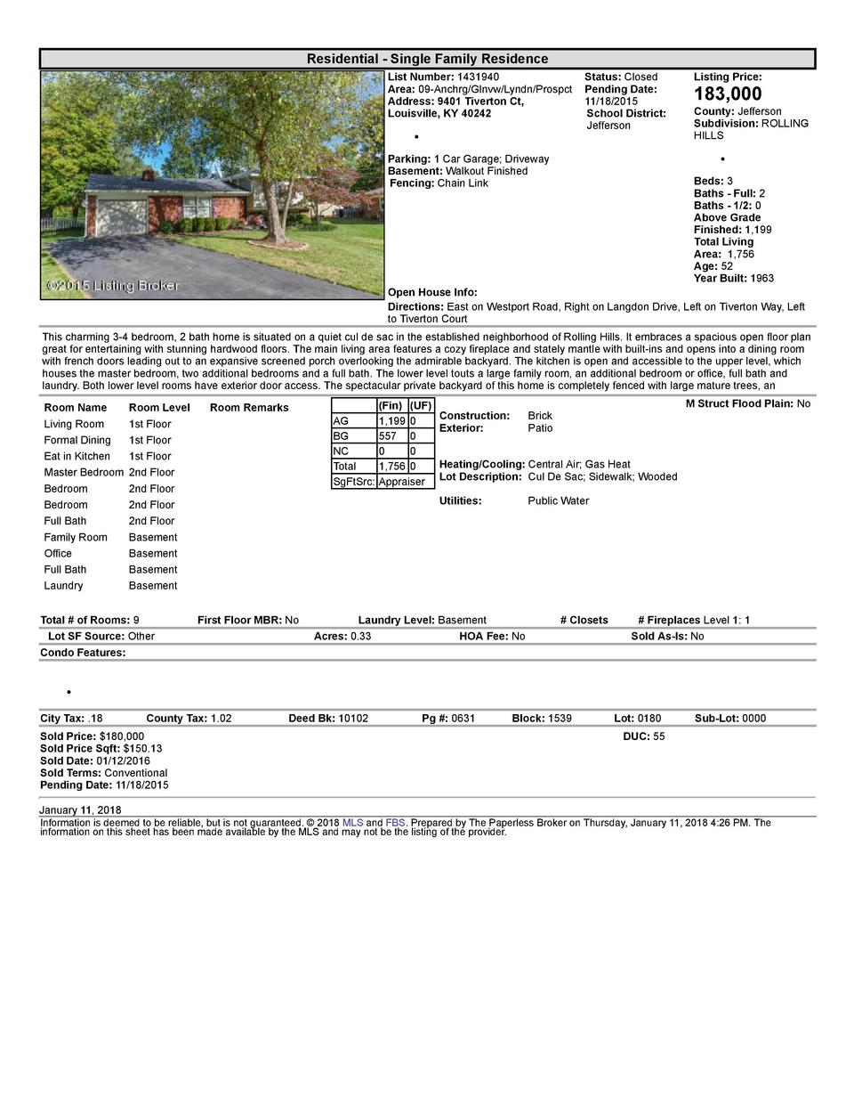 Residential      Single  Family  Residence List  Number   1431940    Status   Closed Area   09  Anchrg Glnvw Lyndn Pros...