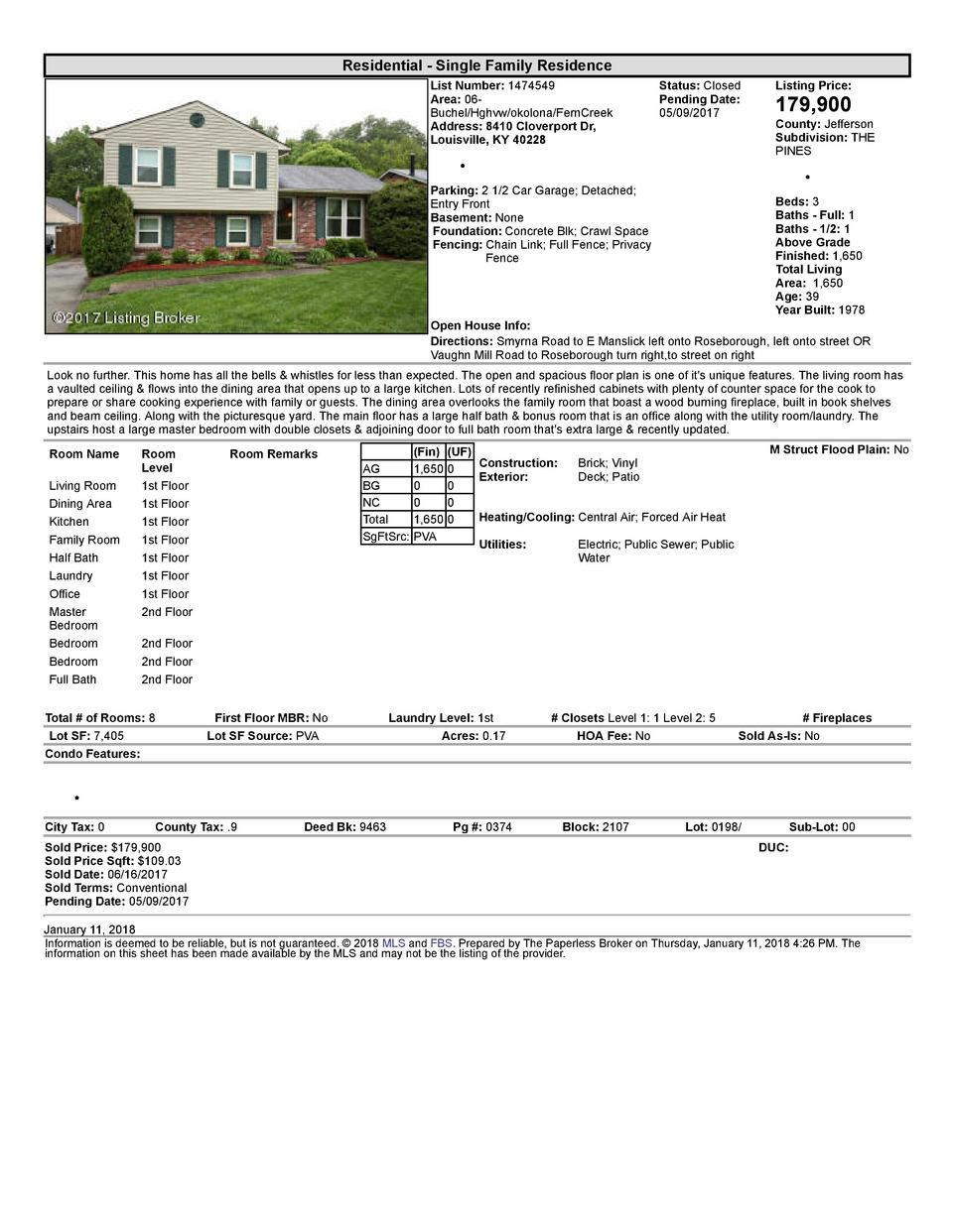 Residential      Single  Family  Residence List  Number   1474549 Area   06   Buchel Hghvw okolona FernCreek Address   ...