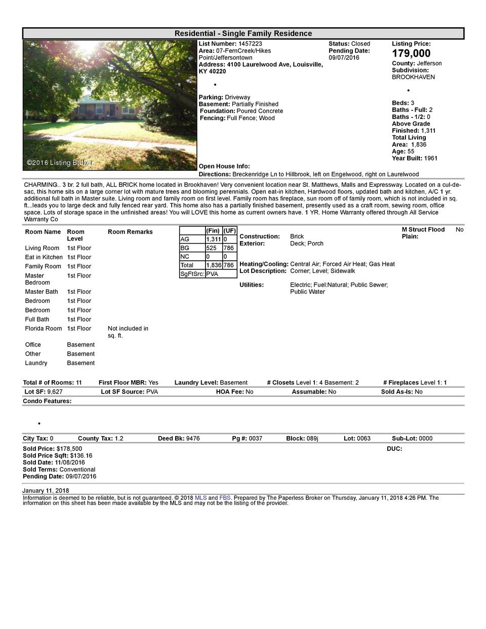 Residential      Single  Family  Residence List  Number   1457223    Status   Closed Area   07  FernCreek Hikes Pending...